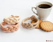 """French knitted cotton bracelet - """"Coffee time"""""""