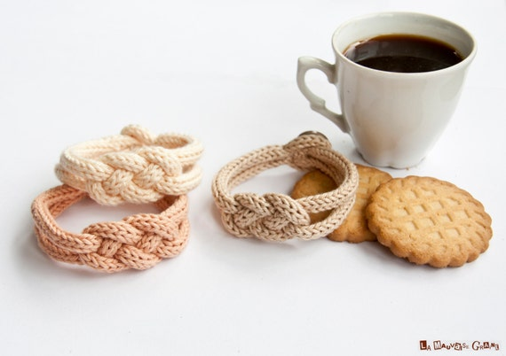 """Bracelet de tricotin tressé en coton - série """"Coffee time"""""""