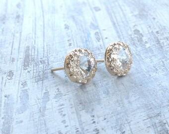 Gold earrings, crystal stud earrings, stud earrings, classic earrings, wedding earrings, Goldfilled earrings - 6100