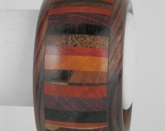 Exotic Wood Bangle Bracelet - Kingwood Core, Assorted Exotic Wood Inlay