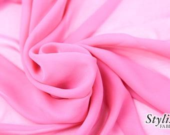 HOT PINK Chiffon Fabric by the yard,Sheer Fabric,Solid Hot Pink Chiffon Fabric, Hot Pink Sheer Chiffon,Fabric by the yard - 1 yard Style 500