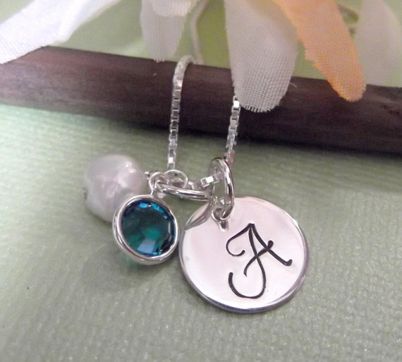 Monogrammed Initial Charm Necklace With Birthstone and Pearl- Initial Necklace- Bridesmaid Jewelry- Beach Themed Bridesmaid Necklace-