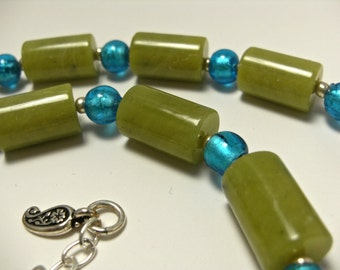 Olive Jade and Turquoise Lampwork Glass Necklace