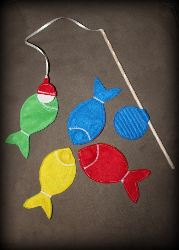 Magnetic felt fishing game set of four fish and by for Illinois game and fish