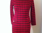 Vintage 80s Red Molly Malloy Plaid Dress
