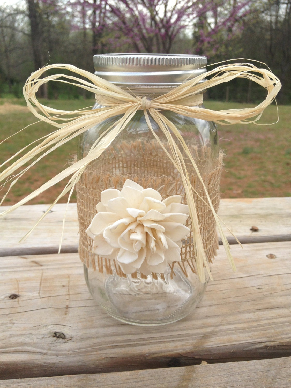 mason jar decorations for weddings shabby chic rustic wrapped jar rustic by countrybarnbabe 5730