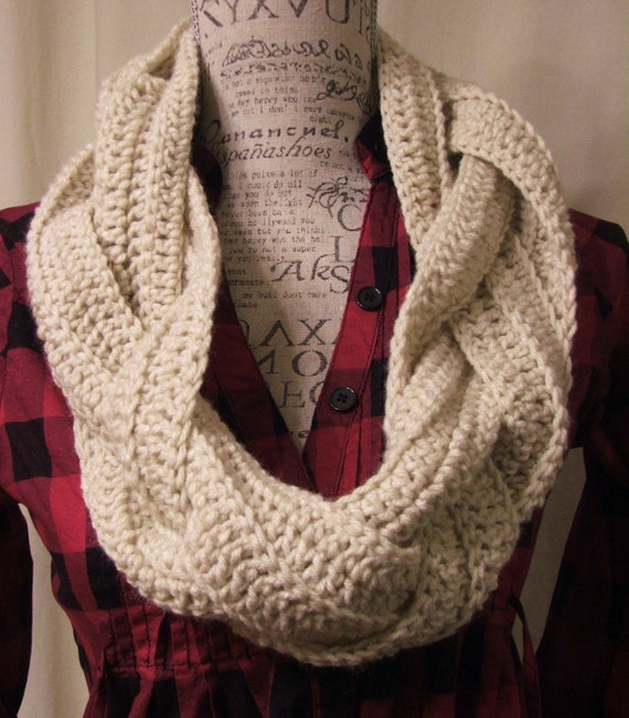 Knitting Pattern Braided Scarf : Crochet Braided Cowl. Infinity Cowl. Braid Cowl. Cowl. Scarf.