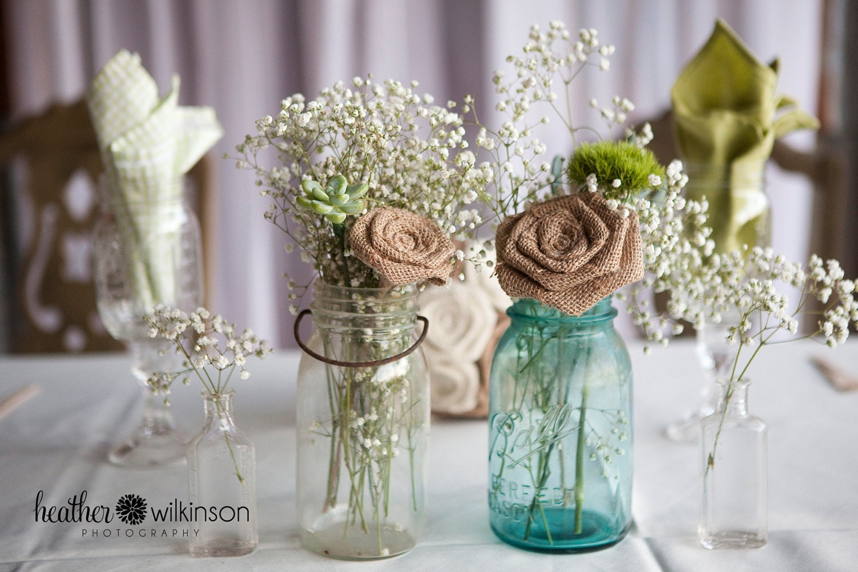 6 large stemmed burlap roses mason jar decor by dixiebydesign - Stemmed mason jars ...