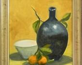 Mandarins & Blue Vase still life original oil painting 12x16 unframed