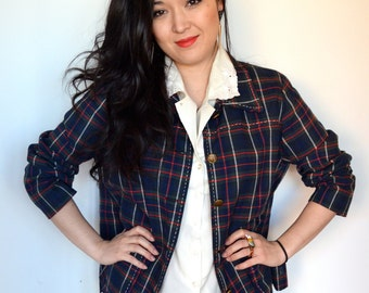 Vintage Plaid Homemade Jacket, Blue and Green Button Down Blazer, Ladies Size Medium