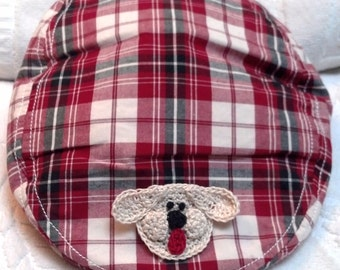 Infant Toddler Baby Boys Newsboy Golf Hat - Handmade Puppy Face - Red,Black, Cream Plaid - Sizes:  12-18 & 18-24 months