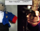"""Jean Valjean, Hollywood Inspired, Les Miserables Doll Collection, Hand Knitted, 13"""" Tall"""