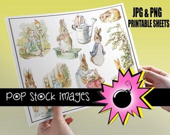 Peter Rabbit Printable Sticker Sheet - Print Bunny Rabbit Stickers - Beatrix Potter - Nursery Art - DIY Party Stickers & Printables