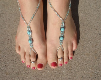 Silver and Light Turquoise Barefoot Sandals, Slave Anklet, foot jewelry, ankle bracelet with toe ring