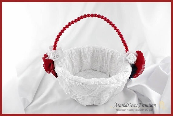 Wedding Pearl Flower Girl Luxury Basket Bridal Custom Basket with Brooches Crystals Handmade Flowers in White, Red Brick and Navy Blue
