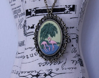 Flamingo Cameo Necklace on Antique Bronze Setting