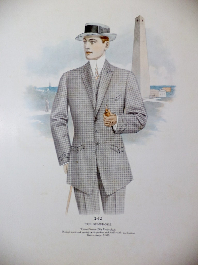 Antique 1910 S Men Suits Illustration Salesman By