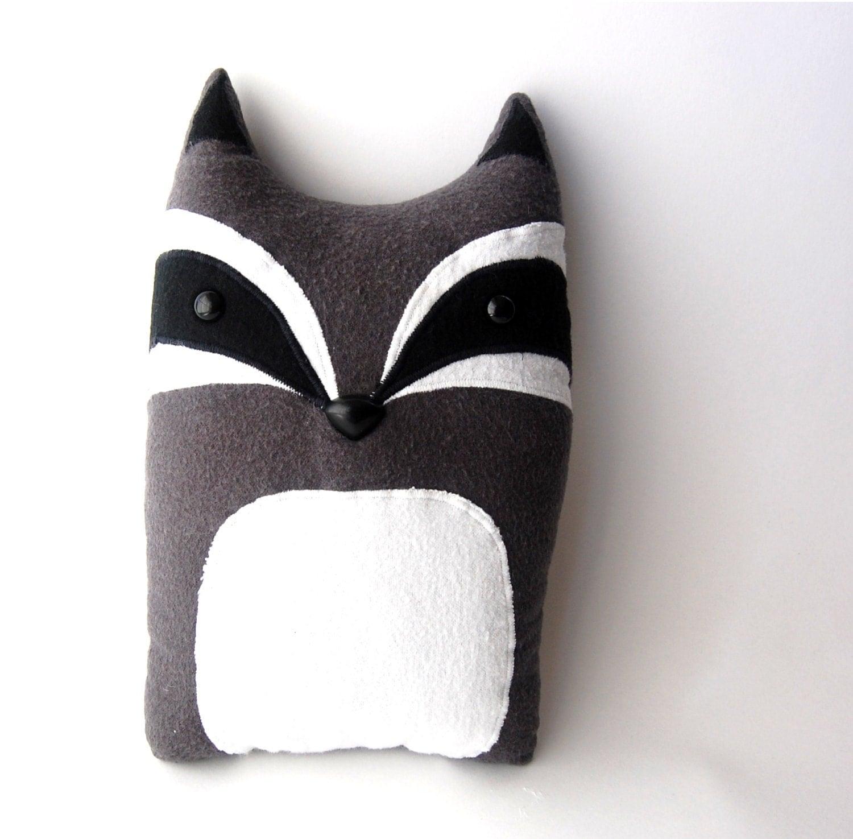 Animal Stuffed Pillows : Raccoon Woodland Plush Stuffed Animal Pillow Patrick