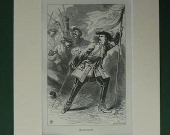 Original 1869 Print Of The Battle of Malplaquet - Spain - Spanish War Of Succession - Habsburg - Bourbon - Mounted - Matted - 18th Century