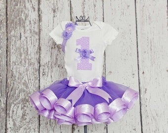 Baby Girl 1st Birthday Outfit - Onesie or T-Shirt with Age Number Applique & Lavender Ribbon Trim Tutu