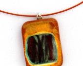 "Simple 1"" ceramic square with dark brown glass stripes"