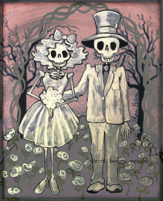 Day of the Dead Wedding Gift Mexican Folk Art Print Bride and