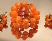 Orange Moonstone LUCITE Wrap BRACELET EARRINGS Set c1950s Signed Triad