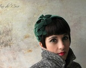 Floral velvet hat - green velvet headband - velvet winter hats for her - Green tiara