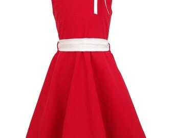 """Summer dress """"May 2"""" (size 104-134), red/white, cotton"""