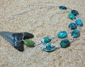 Mako Shark Tooth, Chinese Azurite, and Silver Wire Wrapped Necklace