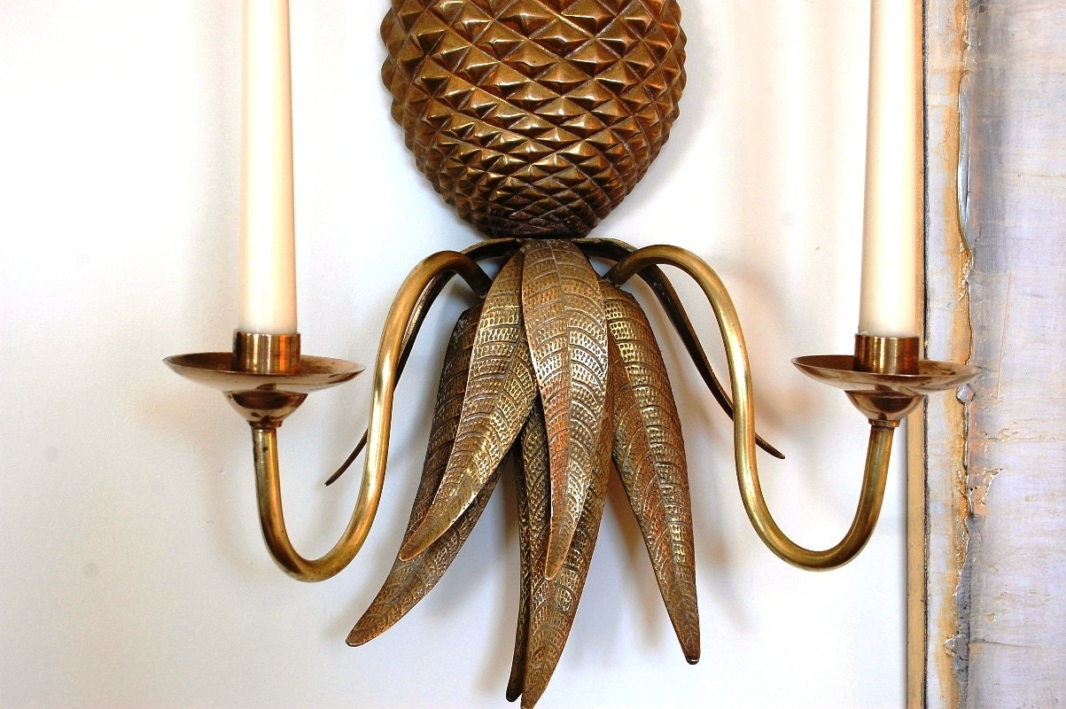 Wall Sconces Etsy : Brass Pineapple Wall Sconce Hollywood Regengy Vintage Wall