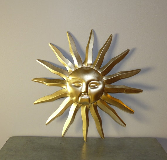 Wall Art Sun Wall Decor Metal Wall Decor Gold Wall Hanging