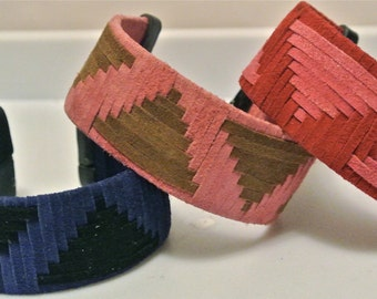Suede Cuff Woven in a Spaced Triangle Pattern