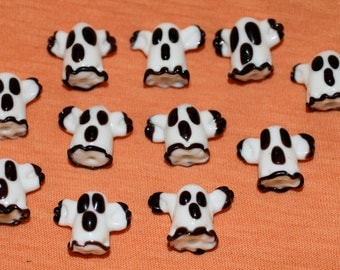 33 Lampwork Ghosts - Beads  - White and Black - Hole Runs Top to Bottom
