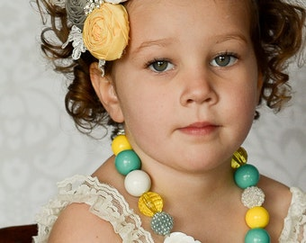 Flower Girl Headband, Gray and Yellow Headband with Rolled Roses, Lace and Rhinestone Brooches