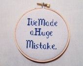 I've Made a Huge Mistake.- Arrested Development Bluth Quote Hoop Art, Geeky Gift