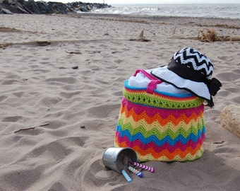 """Crochet Pattern: """"Chasing Chevrons"""" Yarn & Beach Bag, Permission to Sell Finished Items"""