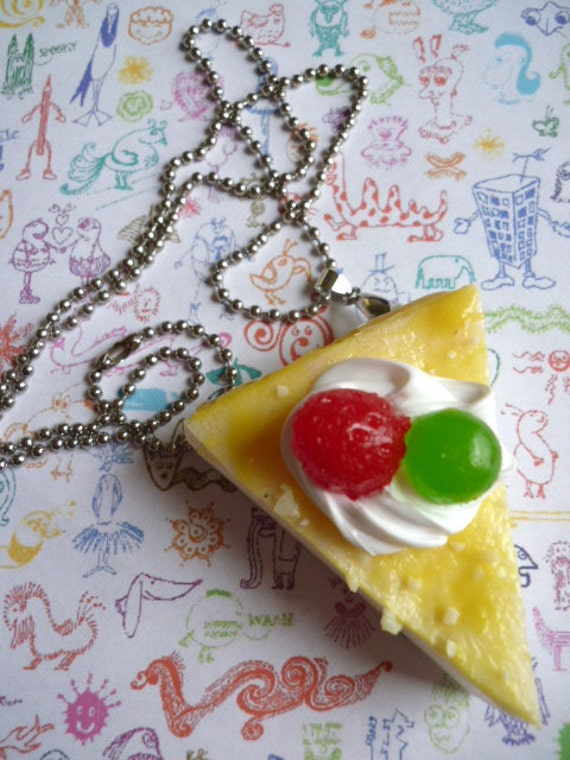 Squishy Cake Slice : Squishy Kitsch Kawaii Cake Slice Necklace