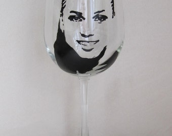 Hand Painted Wine Glass - ELICIA KEITH - Singer, Actress, Record Producer
