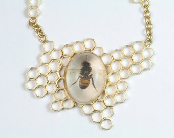 Custom Honeycomb necklace Real Honey Bee pendant 14k gold