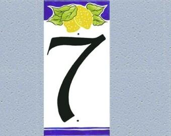 "Lemon address numbers, Hand painted lemon door sign, porcelain, size 4 x 8"" - Single number, lemon"
