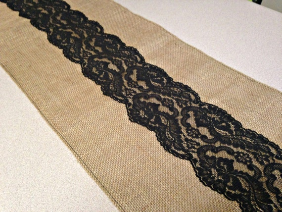 Burlap table runner black lace burlap runner wedding decor home