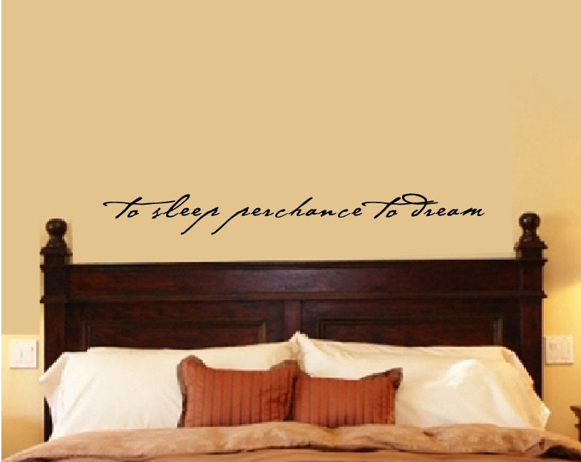 Bedroom wall decal bedroom decor shakespeare quote to sleep for Bedroom vinyl quotes
