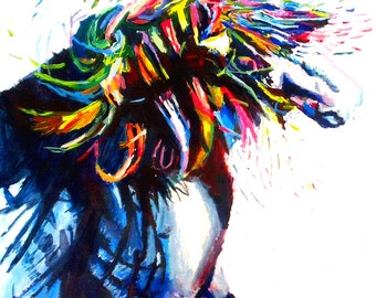 Abstract horse etsy for Abstract animal paintings