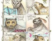 Fascinating Animals portraits giclee fine art print