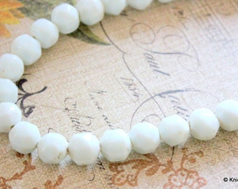 10 x  White Faceted  Opaque Glass Beads 10mm