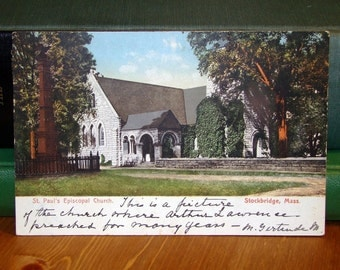 Antique Postcard, St. Paul's Episcopal Church, Stockbridge, Massachusetts 1909 Vintage Paper Ephemera