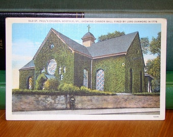 Vintage Postcard, St. Paul's Church, Norfolk, Virginia, 1940s Paper Ephemera