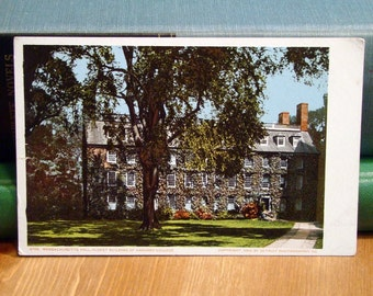 Antique Postcard, Massachusetts Hall, Harvard 1900s Vintage Paper Ephemera