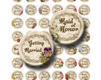 99 Cent Sale - Getting Married - Digital Collage Sheet  - 1 inch Round Circles - INSTANT DOWNLOAD